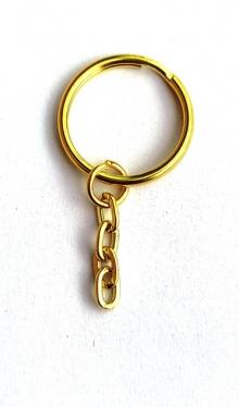 Заготовка брелка для ключів,золото (уп.10шт)
